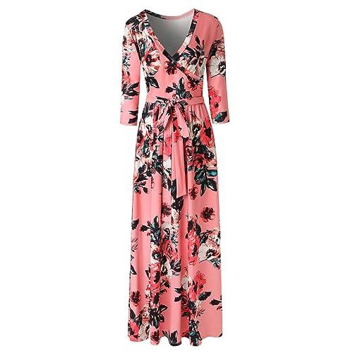 58f8f9a9b3 Zattcas Womens 3 4 Sleeve Floral Print Faux Wrap Long Maxi Dress with Belt