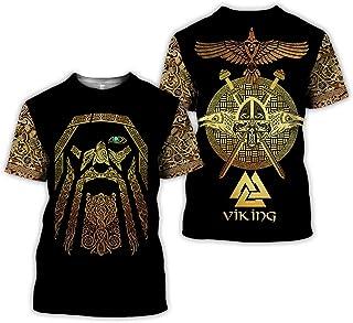 Nordic Vikings Men's 3D Graphic Digital Print Odin Runes Symbol T-Shirt,Vintage Scandinavian Round Neck Summer Short-Sleeve Tops,Warrior b,5XL