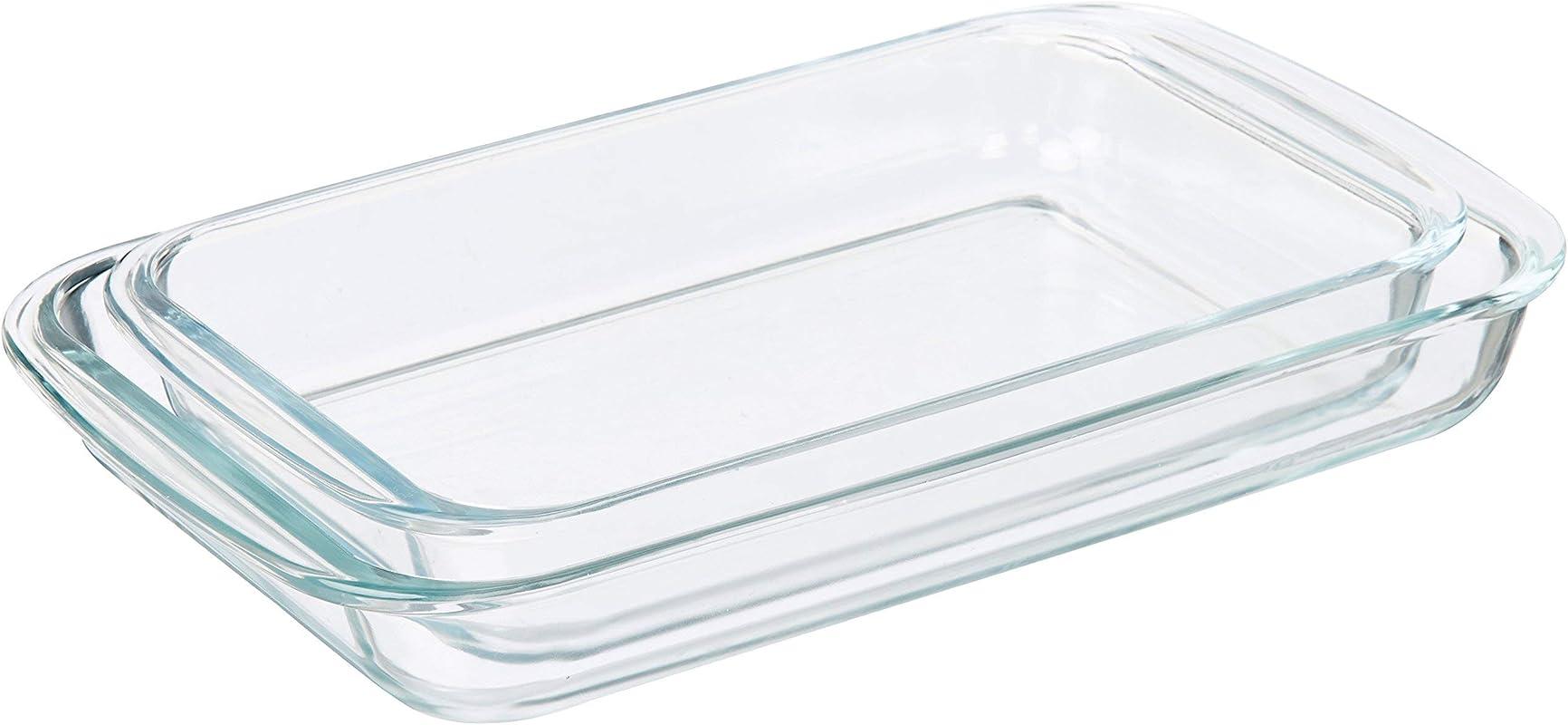 AmazonBasics Glass Oblong Oven Baking Dishes Set Of 2