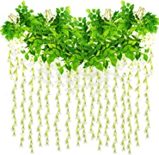 Roffel Artificial Flowers - 16 Pack 3.6 Feet/Piece Fake Flowers Wisteria Vine Ratta Hanging Garland Silk Flowers for Home Party Wedding Decor