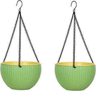AASHU Self Watering Hanging Planter pots with Chain(Size-10 inch,Color-Green)- Pack of 2