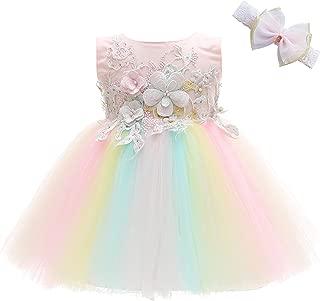 Baby Girls Costume Cosplay Dress Rainbow Tulle 3D Embroidery Beading Princess Tutu Dresses