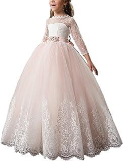 VIPbridal Vestido de la muchacha de flor del cordón rosado para la boda con la manga larga
