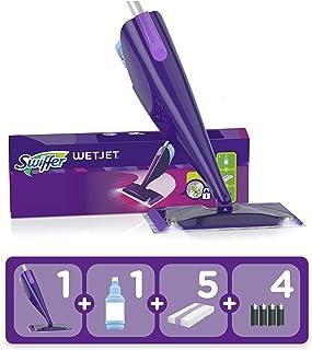 Swiffer WetJet Kit Complet Balai Kit, 5 Lingettes + 1 Nettoyant Liquide + 4 Piles, Lingette Retient la Poussière et la Saleté