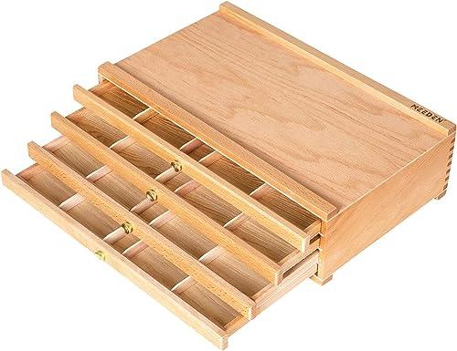 MEEDEN 4-Drawer Artist Supply Storage Box - Portable Foldable Multi-Function Beech Wood Artist Tool & Brush Storage B...