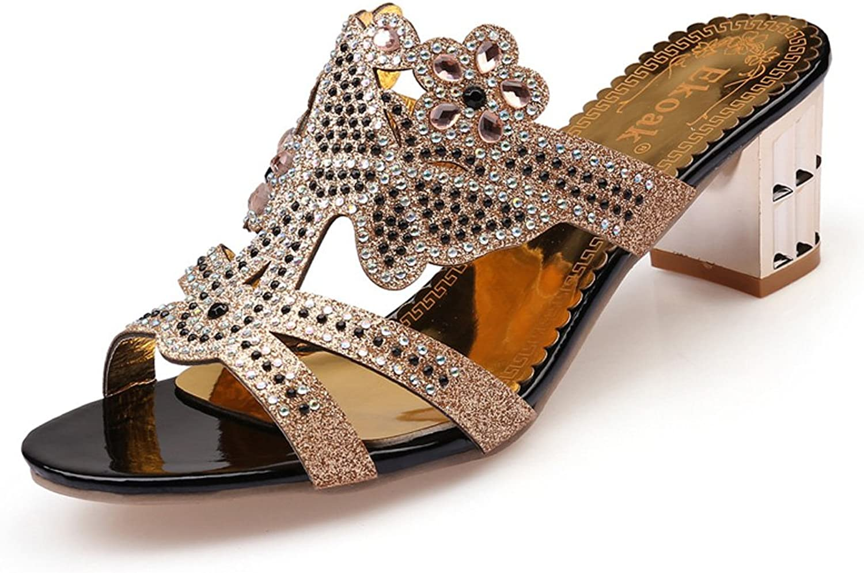 Genepeg Womens Sandals Summer Flower Rhinestone Cut-Outs High Heel Party Dress shoes Black
