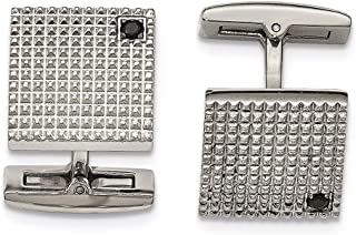 Lex & Lu Chisel Stainless Steel Polished Texture Black CZ Cuff Links