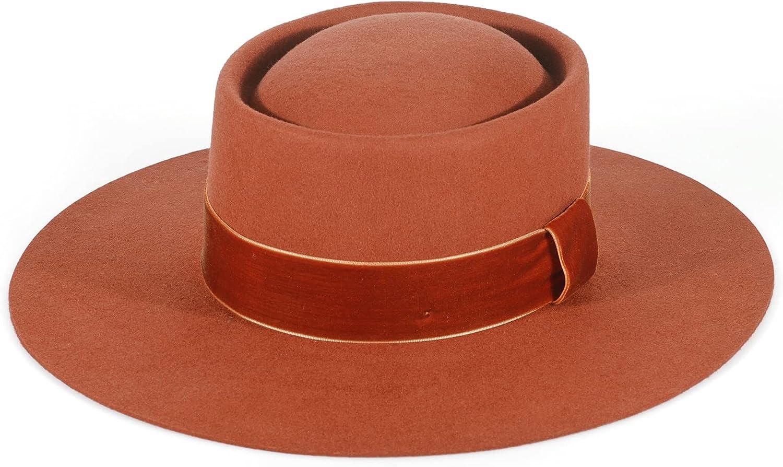 Fedora for Women Wool Felt Boater Hat Flat Top/Pork Pie Style Wide Brim Adjustable Vintage Classic