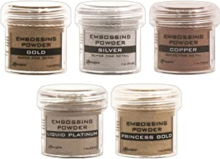 Ranger - Heat Embossing Powder for Cardmaking - Metallic - Gold, Silver, Platinum, Copper & Princess Gold - 5 Item Bundle
