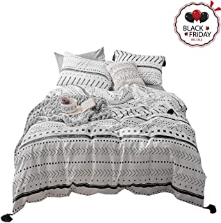 VCLIFE Cotton Twin Bedding Set Kids Duvet Cover Sets - White Black Herringbone Stripe Geometric Pattern Bedding Comforter Cover with Corner Ties Soft Twin 1 Duvet Cover 2 Pillowcases for Boy Girl