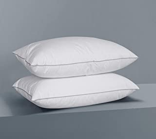 AIKOFUL Feather Down Bed Pillow,King Size 2 Pack,Firm White Goose Feather Down Pillow,Cotton Cover Fashionable Piping