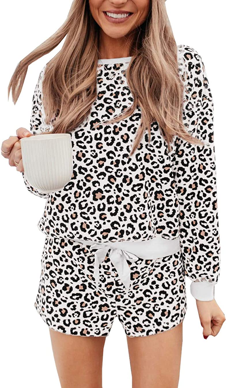 PRETTYGARDEN Women's Tie Dye Printed Pajamas Set Long Sleeve Tops With Shorts Lounge Set Casual Two-Piece Sleepwear