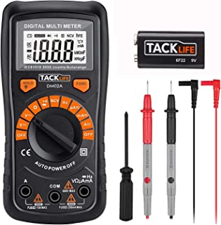 Digital Multimeter Auto-ranging with NVC, Test Amp Voltage Ohm Diode Continuity Frequency with Backlight LCD, Test Leads and Screwdriver - Tacklife DM02A