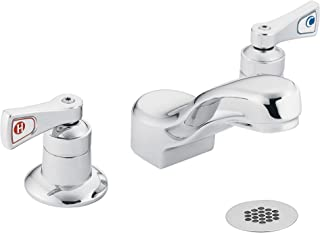 Moen 8224 Commercial M-Dura Widespread Lavatory Faucet with Grid Strainer 2.2 gpm, Chrome