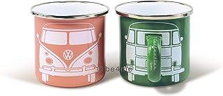 Brisa VW Collection VW T1 Bus Tazas Esmaltadas, Juego de 2 Piezas, 350ml - Verde/Rosa