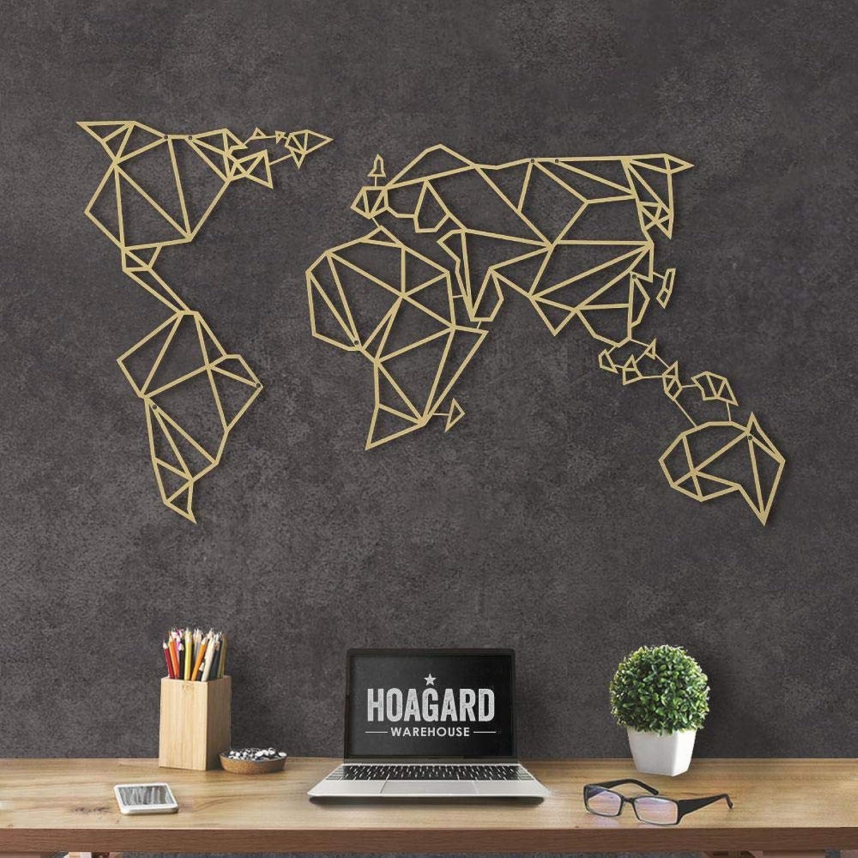 Hoagard Metal World Map Gold XL - Hoagard Weltkarte aus Metall Gold  80cm x 140cm  Geometrische Metallwandkunst, Wanddekoration