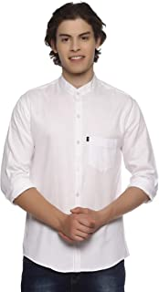 LEVIZO 100% Cotton Plain Solid Chinese Collar Casual Shirt Full Sleeves for Men