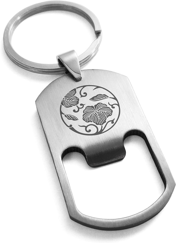 Tioneer Stainless Steel Ivy Branch Kamon Crest Bottle Opener Dog Tag Keychain Keyring