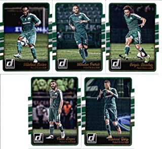 2016 Donruss Soccer Panathinaikos Team Set of 5 Cards in 4-Pocket Collector's Album: Michael Essien(#6), Mladen Petric(#21), Sergio Sanchez(#28), Tasos Lagos(#89), Marcus Berg(#200)
