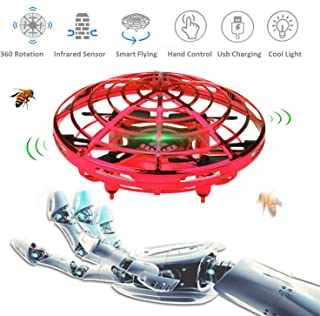 Flying Toys, Boys Toys Hand Operated Flying Ball Drone Kids Toys with 2 Speeds LED Light Mini UFO Drone for Boys or Girls Toys (Red)