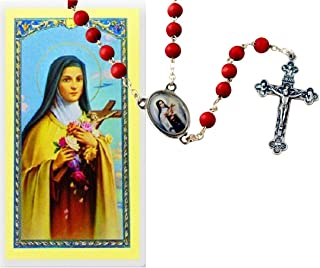 St Saint Theresa of Little Flower Rose Scented Rosary Free Prayer Card of St Therese Blessed By HIS Holiness Francis
