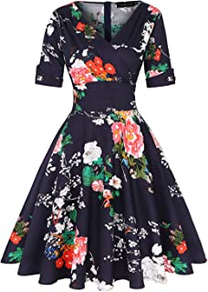 Women's 1950s Vintage Wrap Deep V Neck Half Sleeve Retro Cocktail Swing Dress