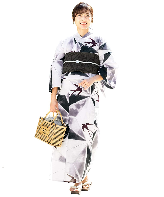 (ソウビエン) 浴衣 セット レディース 白系 灰色 黒 燕 麻の葉 綿 兵児帯 マクレ ボヌールセゾン