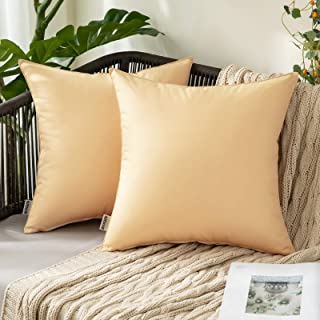 MIULEE Pack of 2 Decorative Outdoor Waterproof Pillow Covers Garden Cushion Sham Throw Pillowcase Shell for Patio Tent Cou...