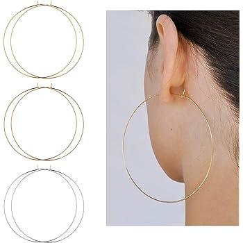 Me&Hz 18K Gold Plated Hoop Earrings Lightweight Minimalist Super Thin Wire Hoop Earrings   Chunky Thick Hoop Earrings Gold Hoops for Women Girls, 25mm-90mm