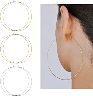 3 Huge statement hoops XXL Big fab thick chunky camo fabric wrapped oversized creole hoop earrings for pierced ears