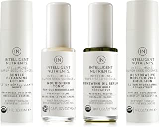 Intelligent Nutrients Normal & Sensitive Skin Care Travel Set - Organic Skin Care Set with Cleansing Lotion, Nourishing Tonic, Renewing Oil Serum & Restorative Moisture Emulsion (Set of 4)