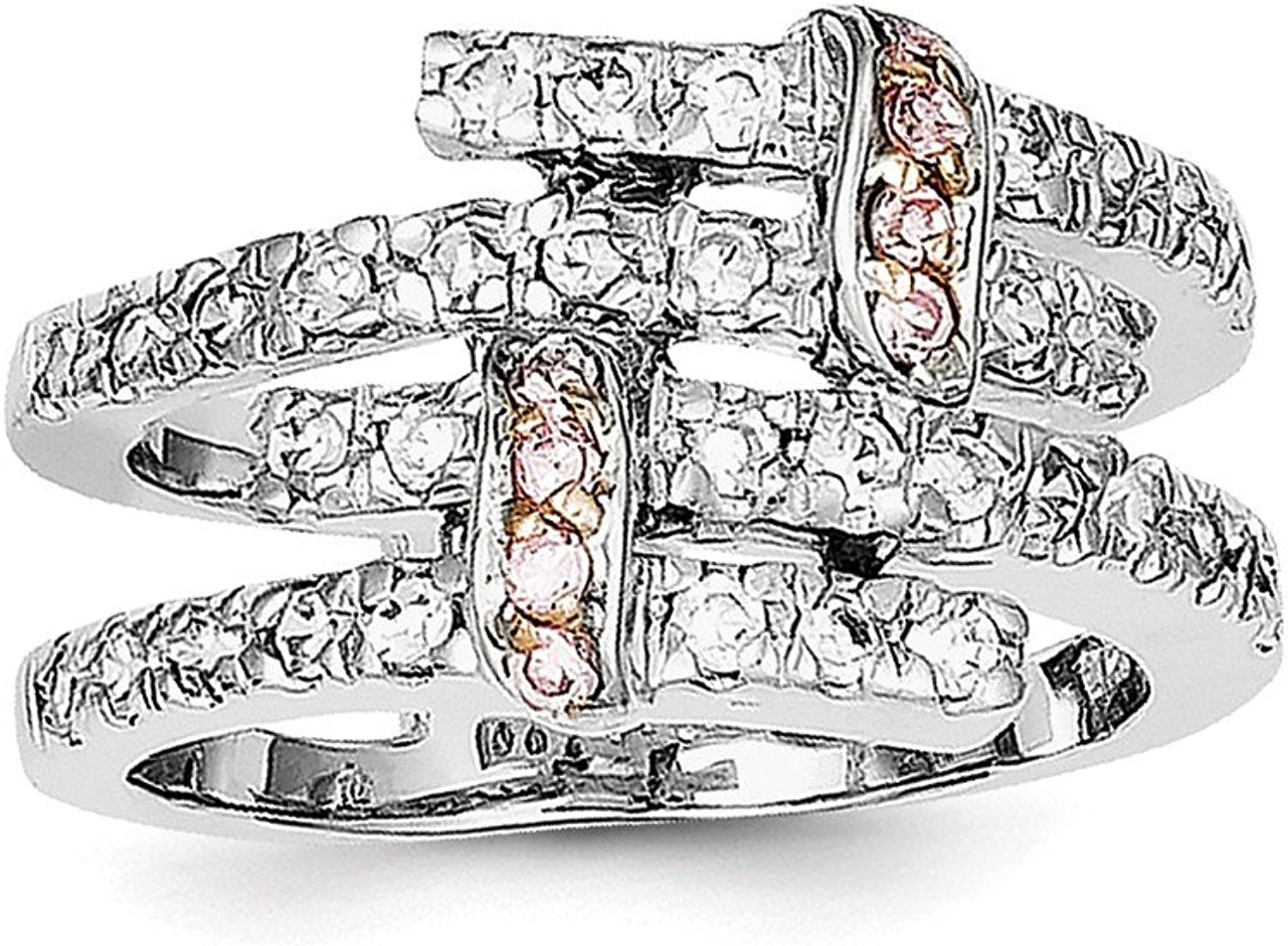 925 Sterling Silver Pink Polished Cubic Zirconia Ring