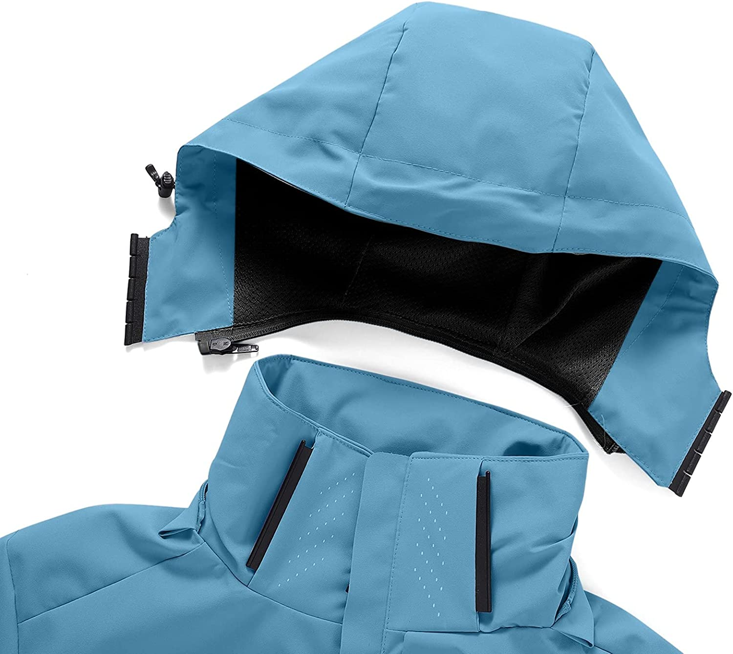 Men's Windbreaker Zipper Removable Hoodie Waterproof Raincoat Outdoor Thin Plus Size Trench Coat Blouse with Pockets