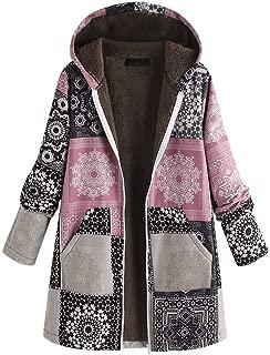 Mlide Hoodise Oversized Jacket Plus Size Vintage Print Fleece Coat For Womens Thick Coats