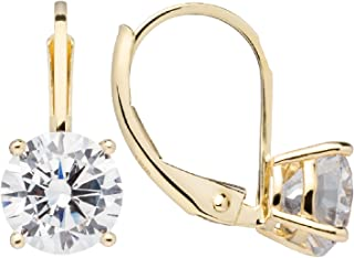 14K Solid White or Yellow Gold Earrings | Round Cut Cubic Zirconia | Leverback Drop Dangle Setting | .50-2.0 CTW | With Gift Box