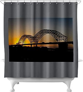 Lantern Press Memphis, Tennessee - Sunset Bridge - Photography A-93394 (71x74 Polyester Shower Curtain)