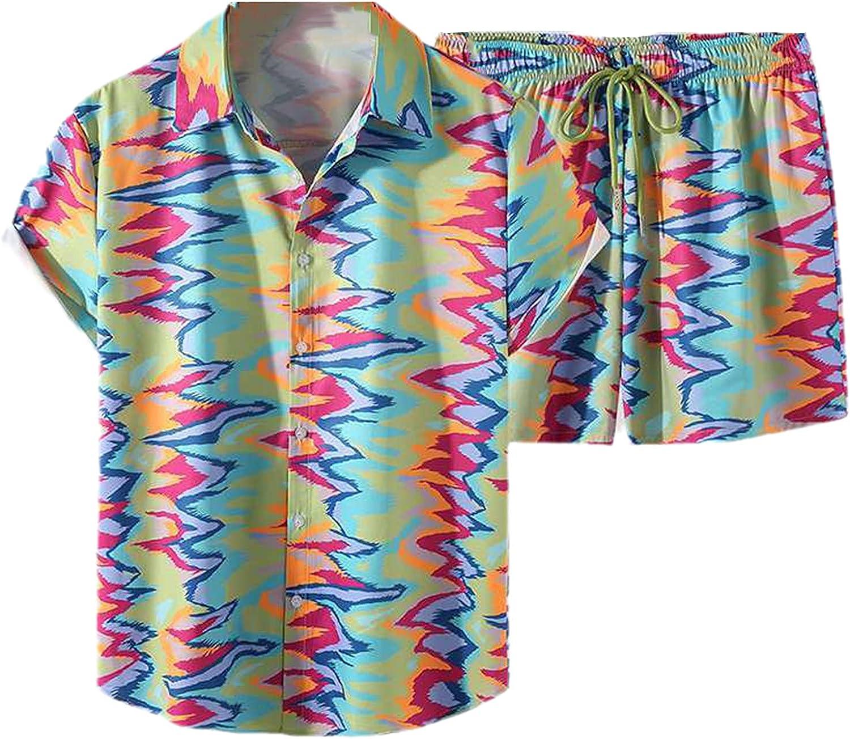 Summer Men Printed Sets Beach Lapel Short Sleeve Shirt Casual Shorts 2 Pieces Streetwear Fashion Hawaiian Suits