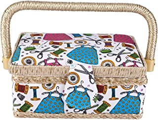 260°調整可能 ソーイングボックス 裁縫箱 大容量 縫製バスケット 裁縫用品収納ボックス 家庭用 工芸 手縫いミシン糸針はさみピン指ぬき 収納 内蔵機能 取り外し可能 裁縫収納ボックス