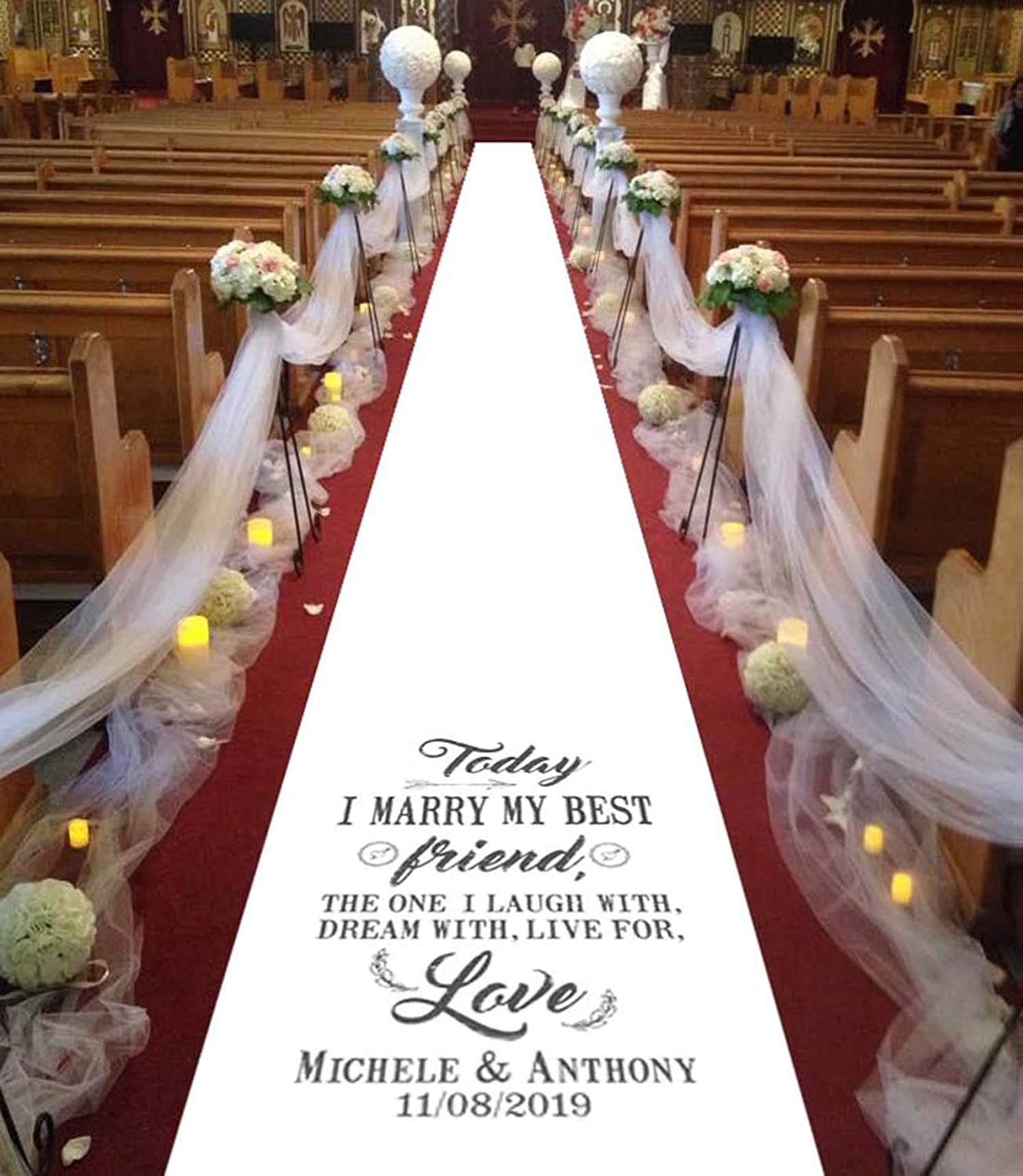 Personalised Wedding Aisle Runner For Ceremony Decor and Wedding Venue  Decoration - Custom Printed Aisle Runner ( Two Souls)