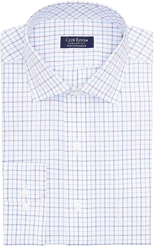 Clubroom Mens White Tattersall Collared Dress Shirt 16.5-32/33