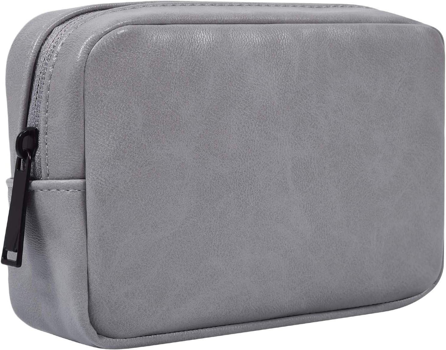 Electronic Accessories Storage Bag, Premium PU Leather Multifunctional Travel Digital Accessories Storage Bag Cable Organizer Bag, Grey
