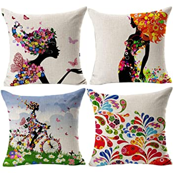 Gspirit 4 Pack Niña Flor Algodón Lino Throw Pillow Case Funda de Almohada para Cojín 45x45 cm: Amazon.es: Hogar