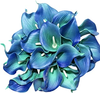 Ezflowery 30 Artificial Calla Lily Flowers Real Touch Latex Arrangement Bouquet Wedding Centerpiece Room Office Party Home Decor, Excellent Gift Idea (Small - 30 Pack, Aqua)