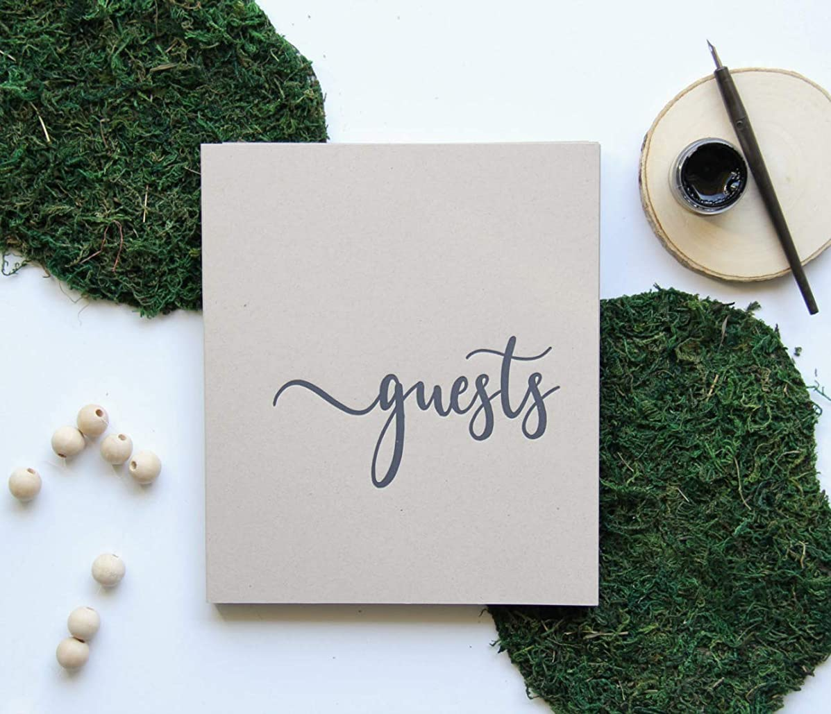Modern Notebooks Rustic Wedding Guest Book for Rustic Wedding Decor. Flat-Lay, 130 pgs 8x7 Softcover. Wedding Guestbook with Blank Pages, Rustic Guest Book for Wedding(Sand)
