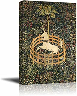 wall26 - The Unicorn in Captivity (from The Unicorn Tapestries) - Canvas Print Wall Art Famous Oil Painting Reproduction - 16