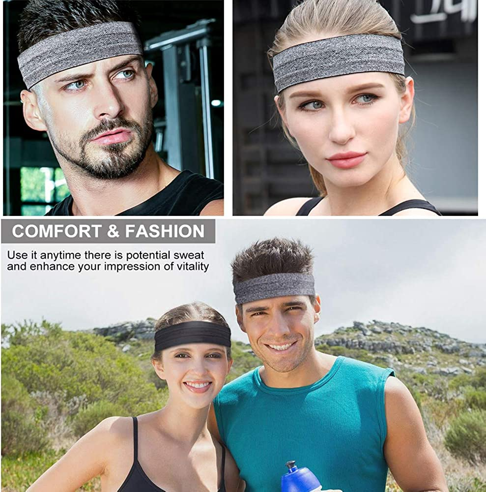 Sport Headwear Indoor/&Outdoor 2 Pack of Sweatband for Workout/&Exercise Stylish Moisture Wicking Headbands for Running Gym Yoga Athletic WillGail Sports Headbands for Men /& Women