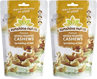 Sunshine Nut Company 'Sprinkling of Salt' Cashews, Peanut Free, Gluten Free, GMO Free, 7 oz, Pack of 2
