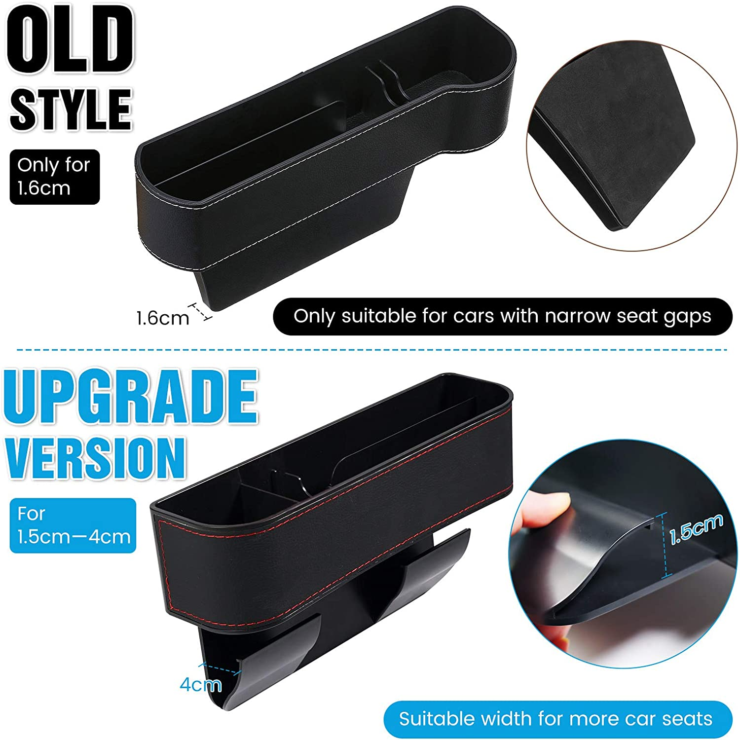 Sunglasses Cards 2 Car Hooks Keys 2 PCS Car Seat Gap Organizer PU Leather Car Seat Storage Box with Cup Holder Wallets Seat Console Side Pocket for Cellphones CHARMINER Car Seat Gap Filler