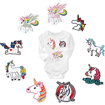 QIMMU Unicornio Parches,Parche de Ropa,Patch Sticker, Parches Ropa Termoadhesivos,Cute DIY Ropa Parches para la camiseta Jeans Ropa Bolsas,diseño de unicornio y caballo(9-pack): Amazon.es: Hogar