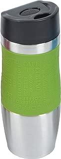 Vaso isotérmico de la marca Ocean5 vaso aislante de acero inoxidable, manejo con una mano 350ml , coffee to go al pulsar el botón , Travel Mug, color: verde oliva